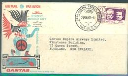 MEXICO  - 29.3.1966 -  FIRST FLIGHT SYDNEY TO MEXICO VIA AUCKLAND PAPEETE ACAPULCO QANTAS - Yv 229  - Lot 18913 - Mexique