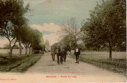 Cpa 77 MORMANT  Route De Lady , Animée: Attelage De Chevaux, Colorisée , Toilée En Très Bon état - Mormant