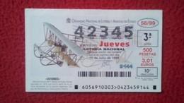 SPAIN DÉCIMO DE LOTERÍA LOTTERY LOTERIE AVIÓN AVIONES AIR PLANE AIRPLANE AVIACIÓN AVIATION MAURICE FARMAN MF-7 BIPLAZA V - Billetes De Lotería