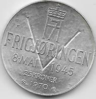 Norvège - 25 Kroner - 1970 - Argent - Norvegia