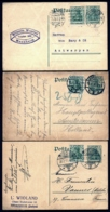 LOT 3 ENTIERS ALLEMAGNE EMPIRE- POSTKARTE 5 Pf + TIMBRE COMPLEMENTAIRE 5 Pf- PARIS- ANVERS- AMSTERDAMM- 1913 - Germania