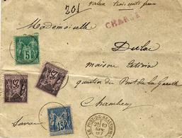 """1887- Enveloppe CHARGE  V D 300 F  Affr. Sage à 80 C  De """" LE PONT DE BEAUVOISIN """" - Marcophilie (Lettres)"""