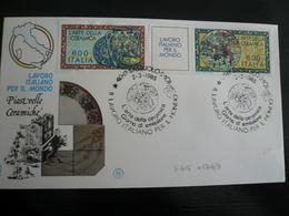 1985 FDC Trittico Arte Della Ceramica Lire 600 - 6. 1946-.. Repubblica