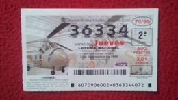 SPAIN DÉCIMO DE LOTERÍA LOTTERY LOTERIE AVIÓN AVIONES AIR PLANE AIRPLANE AVIACIÓN AVIATION WESTLAND WHIRLWIND MK-2 VER F - Billetes De Lotería