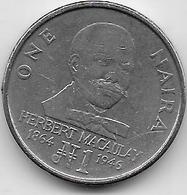 Nigéria - 1 Naira - 1991 - Nigeria