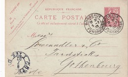 FRANCE 1903  ENTIER POSTAL/GANZSACHE/POSTAL STATIONERY CARTE DE BORDEAUX POUR LA SUEDE - Postal Stamped Stationery