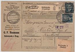 1927, Nr. 363,seltene MeF,Paketkarte , Mi. 240.-      , #a1837 - Deutschland