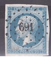 Napoléon III N° 14B - PC 691 Chablis (Yonne) - Marcophilie (Timbres Détachés)