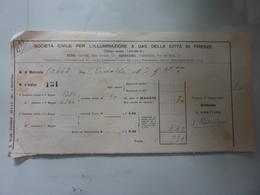 """Ricevuta """"SOCIETA' CIVILE PER L'ILLUMINAZIONE A GAS DELLA CITTA' DI FIRENZE"""" 1911 - Italia"""