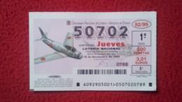 SPAIN DÉCIMO DE LOTERÍA LOTTERY LOTERIE AVIÓN AVIONES AIR PLANE AIRPLANE AVIACIÓN AVIATION NORTH-AMERICAN F-86 SABRE F - Billetes De Lotería