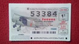 SPAIN DÉCIMO DE LOTERÍA LOTTERY LOTERIE AVIÓN AVIONES AIR PLANE AIRPLANE AVIACIÓN AVIATION DORNIER DO-28 BIMOTOR ENLACE - Billetes De Lotería