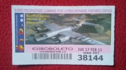 SPAIN CUPÓN LOTERÍA LOTTERY LOTERIE AVIÓN AVIONES AIR PLANE AIRPLANE AVIACIÓN AVIATION BOMBARDEROS MARTIN B-26 MARAUDER - Billetes De Lotería