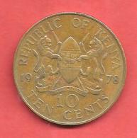 10 Cents , KENYA , Nickel-Bronze , 1978 , N° KM # 11 - Kenya