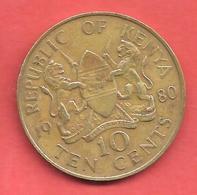10 Cents , KENYA , Nickel-Bronze , 1980 , N° KM # 18 - Kenya