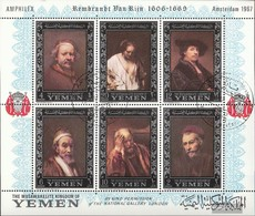 Yemen (UK) Miniature Sheet A 37A (complete.issue.) Fine Used / Cancelled 1967 Paintings Of Rembrandt - Yemen