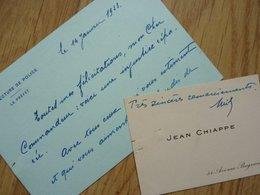 Jean CHIAPPE (1878-1940) - PREFET De PARIS De 1927 à 1934 - AUTOGRAPHE - Autografi