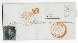 """1853 - BELGIQUE - LETTRE De LANGEMARK Avec MARQUE """"M"""" + DATEUR ROUGE De YPRES => LILLE (NORD) - Marcophilie"""