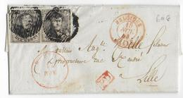 1853 - BELGIQUE - LETTRE De COMINES Avec DATEUR ROUGE De WERVICQ => LILLE (NORD) - Belgique