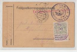 K.u.K Ettapenpostamt FP322 Feldpostkarte To Ljubljana 1915 Taxed With Revenue Stamp 1921???? Bb190120 - Slovenia