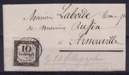 PEU COURANT TIMBRE TAXE N° 1 10c NOIR LITHOGRAPHIÉ (BORD DE FEUILLE?) Sur FRAGMENT De LETTRE CAD MARS 1859 - Taxes