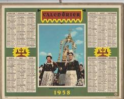 """Calendrier Des PTT (complet) """" Pardon De St. Anne La Palud"""" 1958. - Grand Format : 1921-40"""