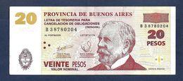 ARGENTINA EMERGENCY 20 PESOS (PATACONES) 2002 PREFIX B VF+ - Argentine