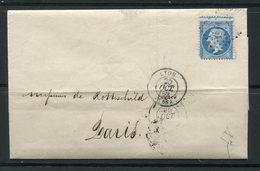 Lettre De 1862 De LYON 68 Pour PARIS 60- Timbre Y&T N°22- GC 2145 (De Rothschild Frères) - 1862 Napoleone III
