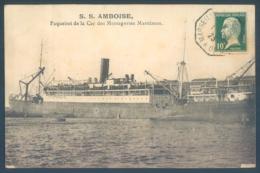 Bateau Paquebot S. S. AMBOISE Paquebot De La Cie Des Messageries Maritimes - Paquebots