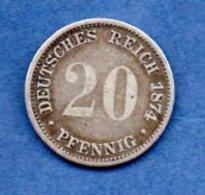 Allemagne  -  20 Pfennig 1874D  - Km #  5 -  état  TB - - [ 2] 1871-1918 : Empire Allemand