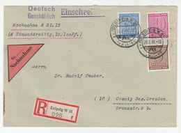 Germany Soviet Zone Letter Cover Travelled Registerd 1946 Ledipzig To Coswig Bb190120 - Zone Soviétique