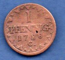 Saxe  -  1 Pfennig 1788 C  - Km #  1000 -  état  B - - [ 1] …-1871 : Etats Allemands