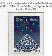 """PIA - DANIMARCA -1973 : 4° Centenario Della Pubblicazione Del Libro """"De Nova Stella"""" Di Tycho Brahe - (Yv 558) - Space"""