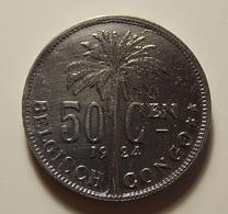 Belgian Congo 50 Centimes 1924 Varnished - Belgisch-Kongo & Ruanda-Urundi
