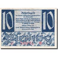 Billet, Allemagne, Württemberg, 10 Pfennig, Château, 1947, TTB, Mehl:WTB 43b - Germany