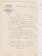81065 Lettre Facture M VIALA DE LACOSTE OLIVIERS MOULINS A HUILE SALON / 1893 - Francia