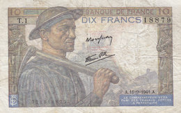 Billet 10 F Mineur Du 11-9-1941 FAY 8.1 Alph. T.1 1ère Date D'émission - 1871-1952 Circulated During XXth