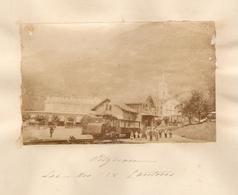 Photographie De Suisse, Lac Des 4 Cantons / Vierwaldstättersee, Vitznau, Rigibahn, Photo Ca 1875, Train En Gare - Photos