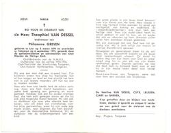 Devotie - Doodsprentje Overlijden - Oudstrijder Theophiel Van Dessel - Lier 1894 - Tongeren 1975 - Obituary Notices