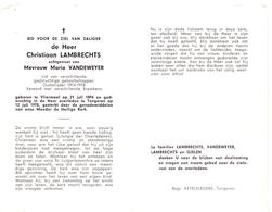 Devotie - Doodsprentje Overlijden - Oudstrijder Christiaan Lambrechts - Vliermaal 1894 - Tongeren 1970 - Obituary Notices