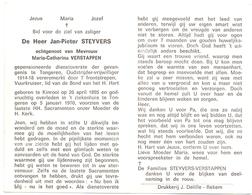 Devotie - Doodsprentje Overlijden - Oudstrijder Jan Pieter Steyvers - Kinrooi 1895 - Tongeren 1970 - Obituary Notices