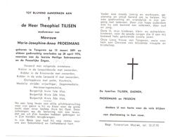Devotie - Doodsprentje Overlijden - Oudstrijder Theophiel Tilisen - Tongeren 1891 - 1976 - Obituary Notices