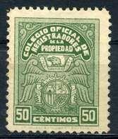 ESPAÑA. COLEGIO REGISTRADORES DE LA PROPRIEDAD. CATÁLOGO ALEMANY-EDIFIL CAPITULO VI (PAG.60) Nº14. SIN GOMA - Fiscales