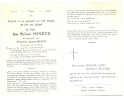 Devotie - Doodsprentje Overlijden - Oudstrijder Jan Willem Mentior - Berg Tongeren 1890 - Herderen 1967 - Obituary Notices