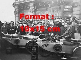 Reproduction D'une Photographie Ancienne De Deux Motos Side Car Sponsorisées Par Shell Pour Un Tour Du Monde - Reproductions