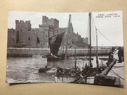 ISLE OF MAN - Peel Castle From Pier - Valentine`s Phototone - Isle Of Man