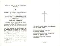 Devotie - Doodsprentje Overlijden - Oudstrijder Lambert Leonard Vermeulen - Opitter Tongerlo 1894 - Tongeren 1972 - Obituary Notices