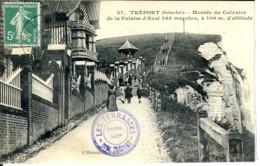 Dpt 76 Le Treport Montee Du Calvaire De La Falaise D Aval No27 Ed L Hirondelle Animee 1910 EVT EC Cachet Terrasses - France