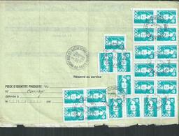 Affranchissement 110F ( 5F X 22)marianne De Briat Obl  De Moffans Et Vacheresse (Haute Saône) Sur Ordre De Réexpédition - France
