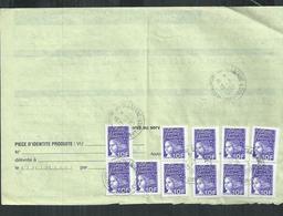 Affranchissement 110F ( 10F X 11)marianne De Luquet Obl Chaumont Sur Tharonne (Loir Et Cher) Sur Ordre De Réexpédition - France