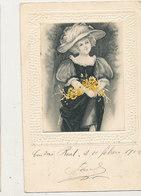 FEMME DANS MEDAILLON ESPAGNE 1902 CPA BON ETAT - Mujeres